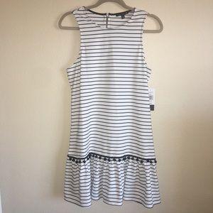 Juniors XXL City Triangles Blk/White Striped Dress
